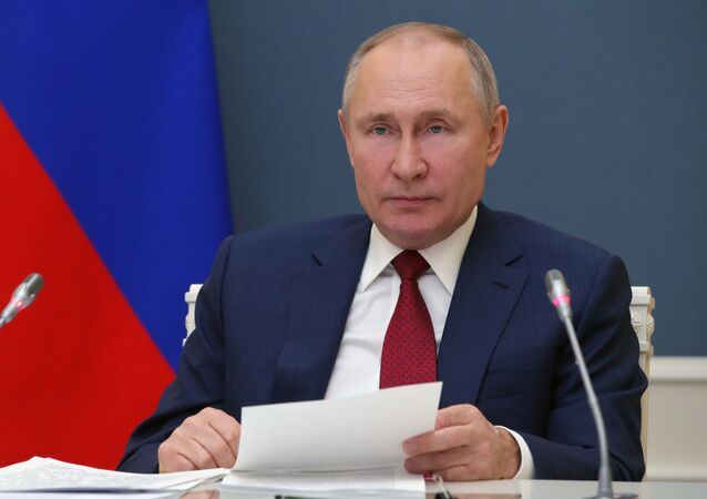 Russian President Vladimir Putin addresses the participants of the World Economic Forum's annual meeting in Davos on 27 January 2021