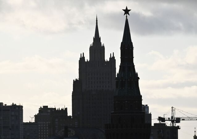 A view of the Russian Foreign Ministry and one of the Kremlin towers