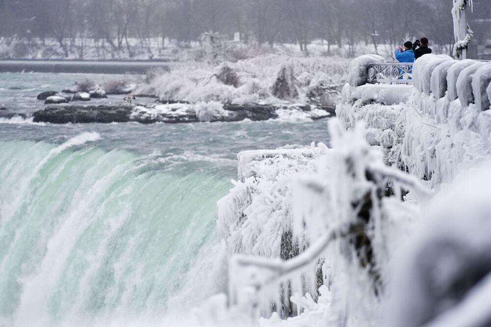 Il vapore che sale dalle cascate del Niagara si trasforma in ghiaccio che poi si attacca ai rami degli alberi.
