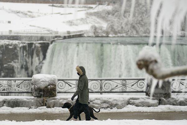 Una donna fa una passeggiata con il suo cane lungo le cascate del Niagara, Ontario, Canada.  - Sputnik Italia