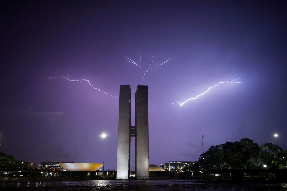 Fulmine sul Congresso Nazionale a Brasilia, Brasile