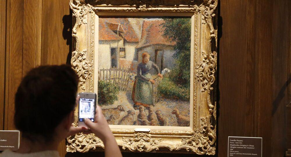 Pittura dell'artista Camille Pissarro  Cowgirl che attrae pecore