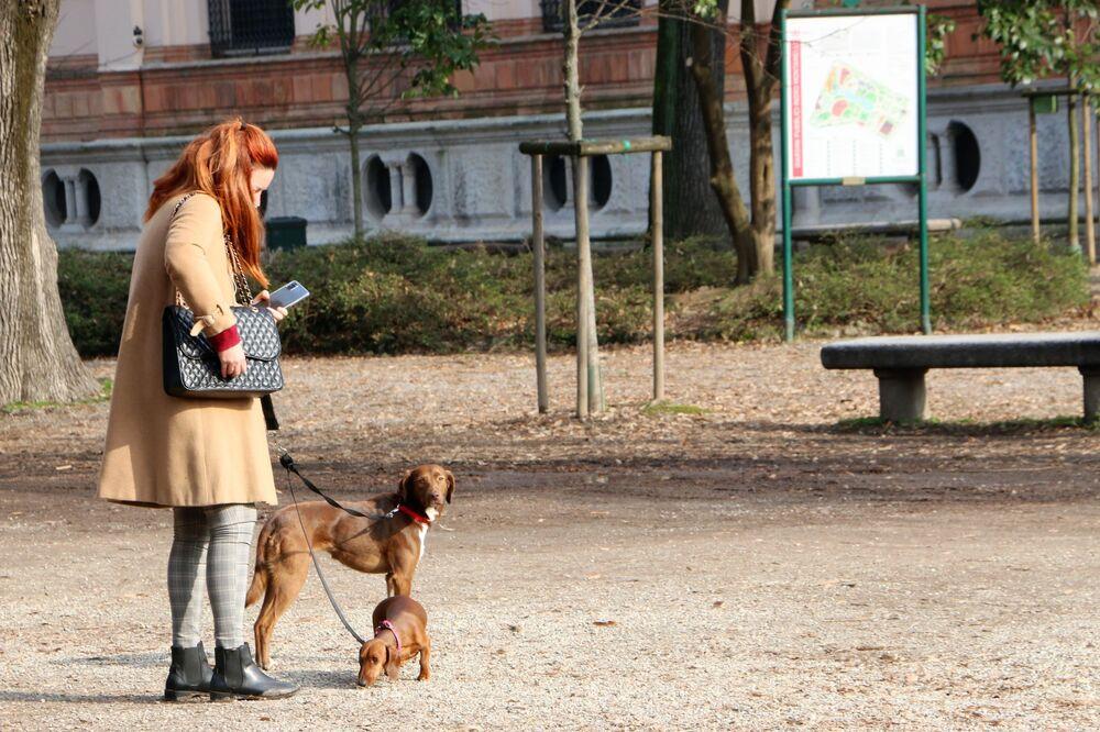Una donna giovane con i cani a Milano, Italia