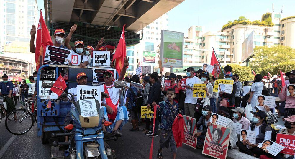 Proteste a Yangon, Myanmar