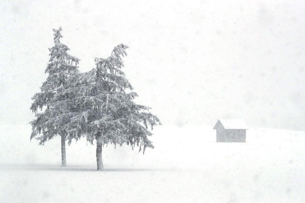 La neve copre il paesaggio della provincia italiana dell'Alto Adige, in Italia, sabato 23 gennaio 2021