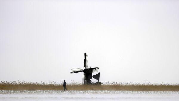 Mulino a vento nella neve a Heiloo, Paesi Bassi - Sputnik Italia