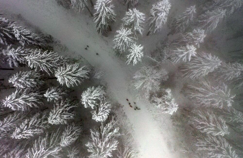 Un paesaggio innevato sul monte Nordhelle vicino a Meinerzhagen, nella Germania occidentale, il 7 gennaio 2021