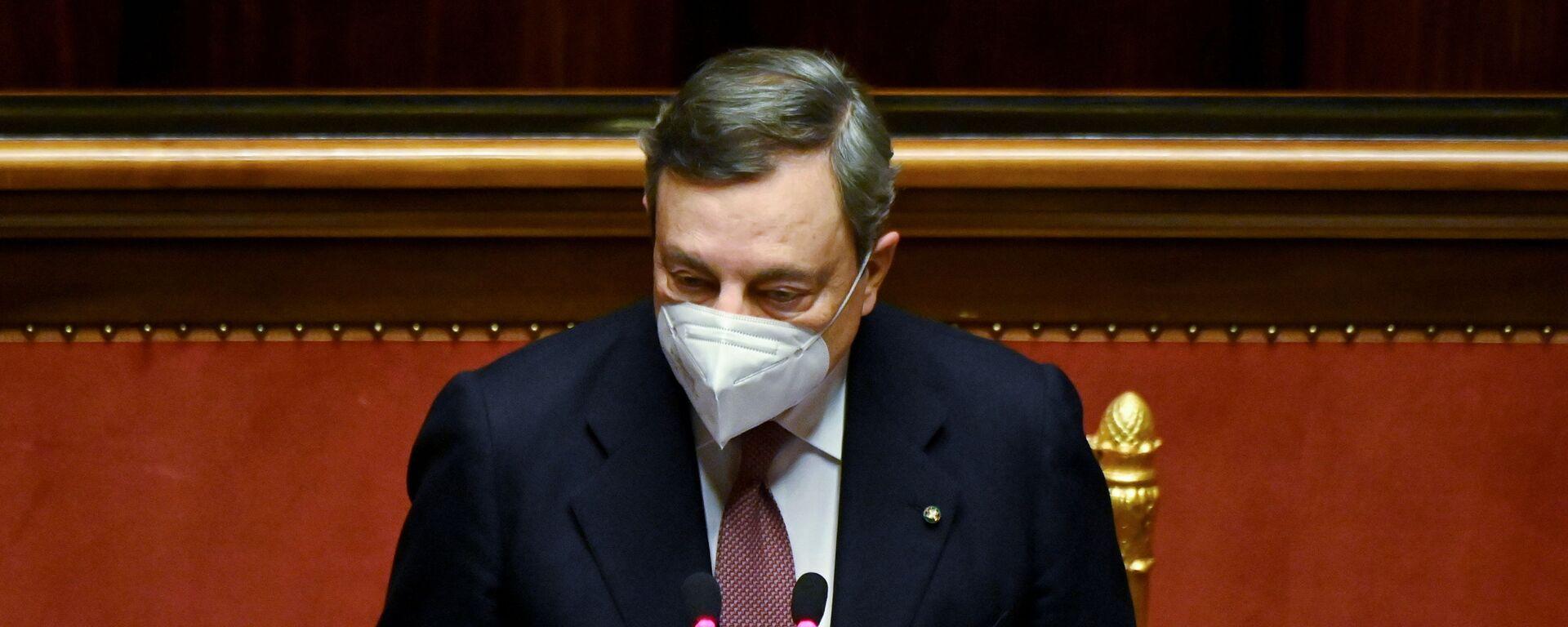 Il presidente del Consiglio Mario Draghi al Senato - Sputnik Italia, 1920, 19.03.2021