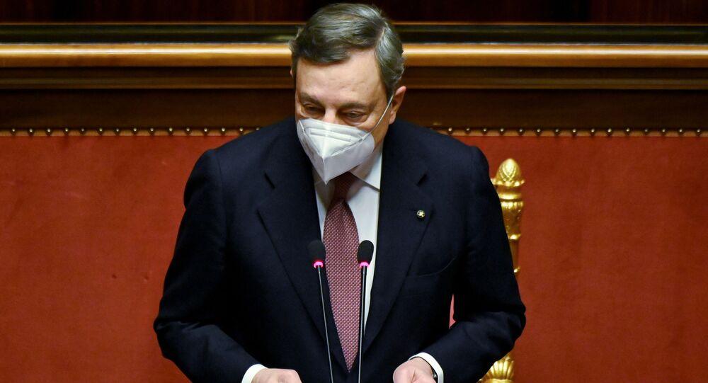 Il presidente del Consiglio Mario Draghi al Senato