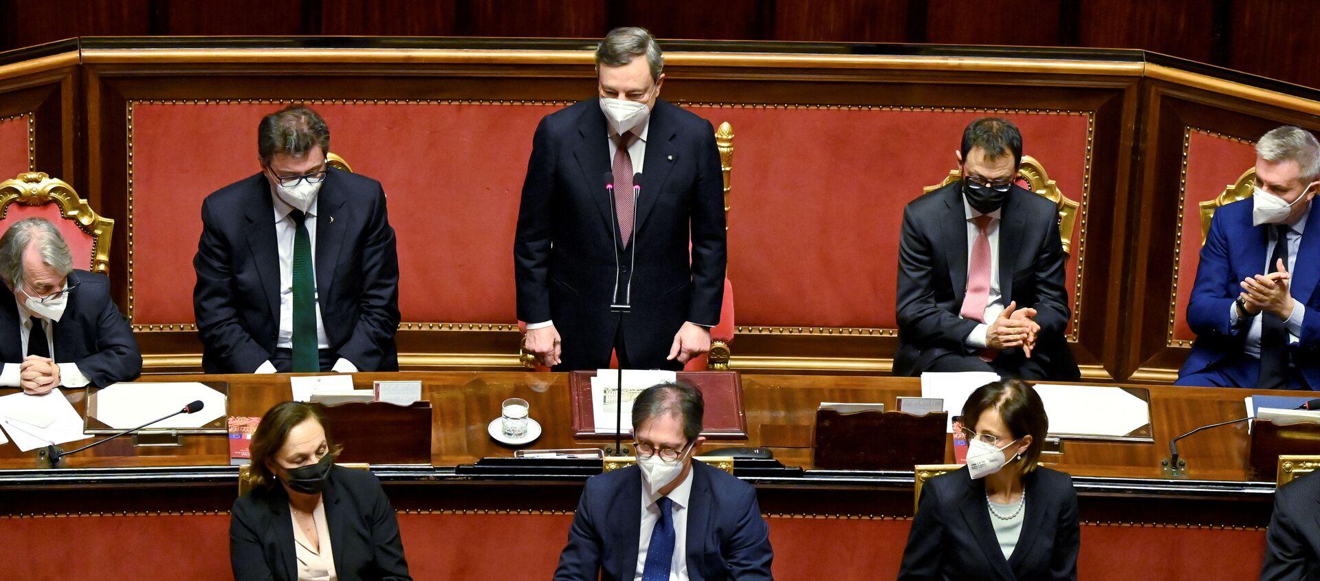 Il presidente del Consiglio Mario Draghi al Senato - Sputnik Italia, 1920, 23.02.2021
