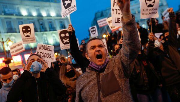 Сторонники сторонников рэпера Пабло Хазеля на акции протеста в Мадриде, Испания - Sputnik Italia