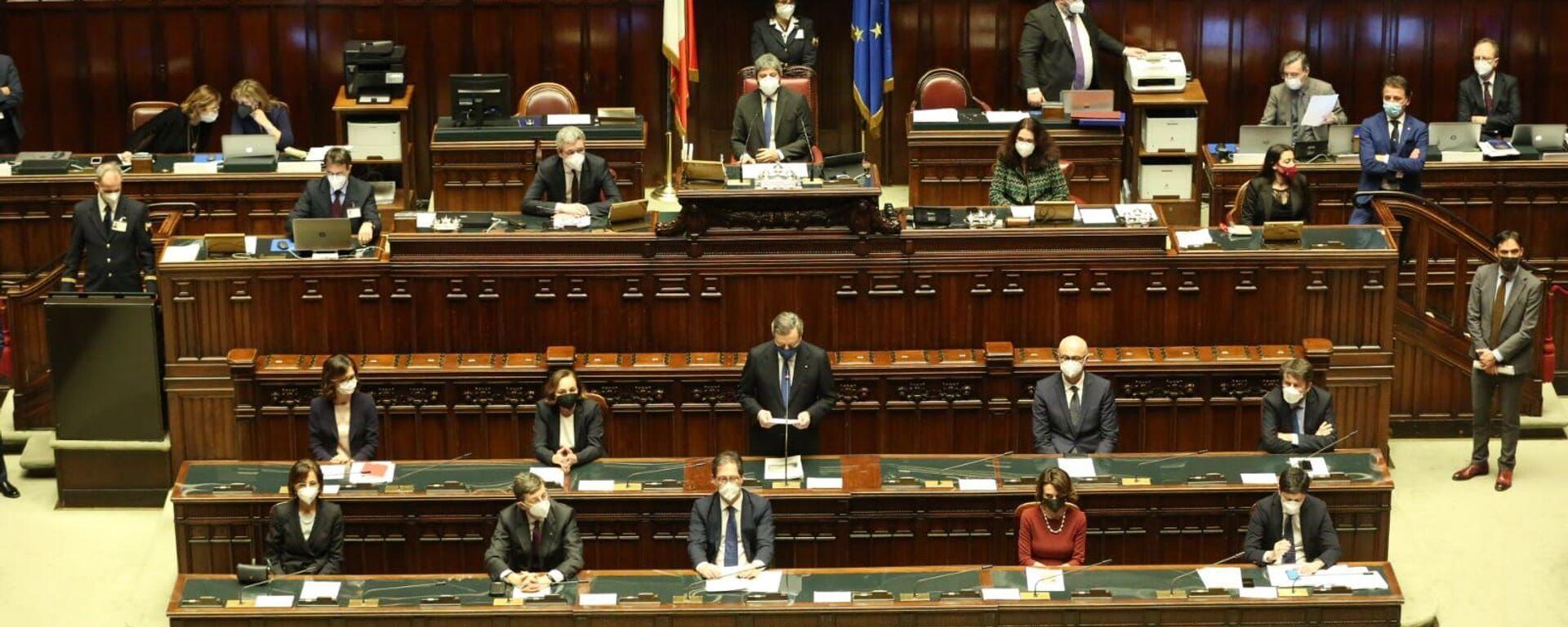 Presidente Mario Draghi durante il voto alla fiducia alla Camera dei Deputati - Sputnik Italia, 1920, 24.02.2021
