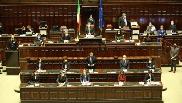 Presidente Mario Draghi durante il voto alla fiducia alla Camera dei Deputati - Sputnik Italia