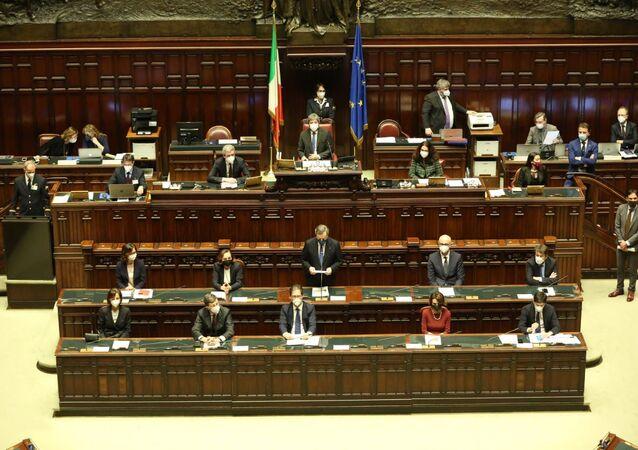 Presidente Mario Draghi durante il voto alla fiducia alla Camera dei Deputati