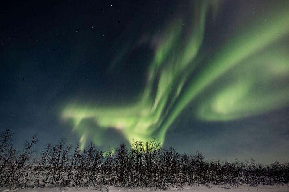 Aurora boreale nei cieli del comune finlandese di Enontekiö in Lapponia.