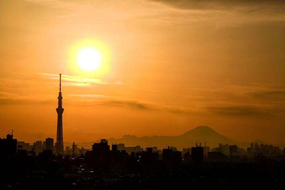Tokyo al tramonto, Giappone.