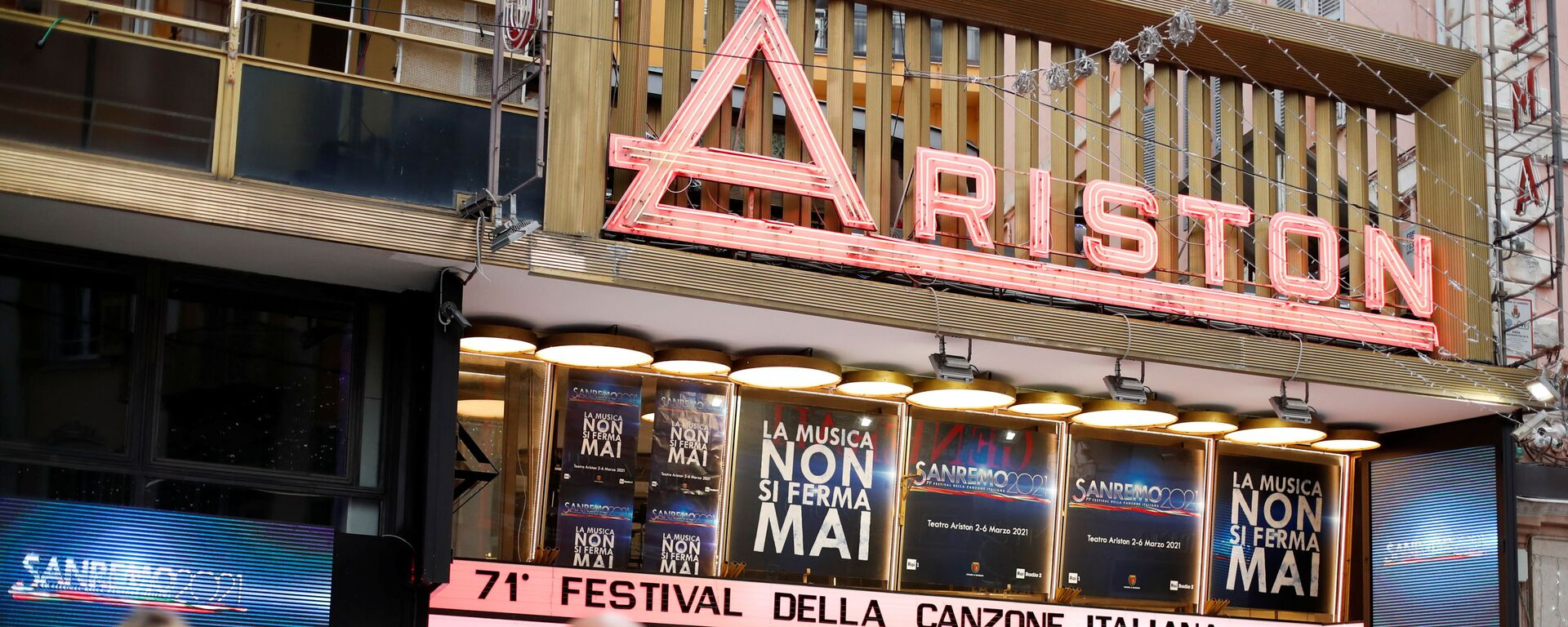Il Teatro Ariston dove si svolge il Festival di Sanremo in diretta, il 2 marzo 2021 - Sputnik Italia, 1920, 07.03.2021