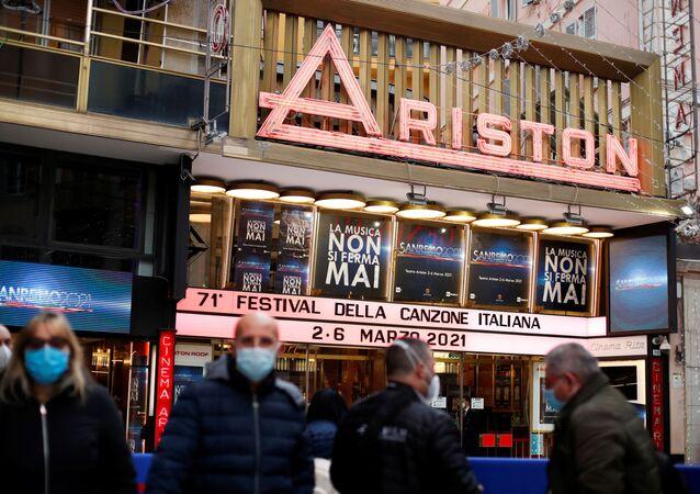 Il Teatro Ariston dove si svolge il Festival di Sanremo in diretta, il 2 marzo 2021