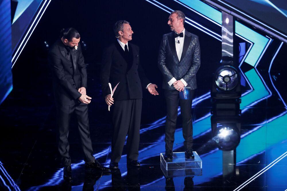 Rosario Fiorello, Amadeus e Zlatan Ibrahimovic al 71° Festival di Sanremo in Italia, il 2 marzo 2021