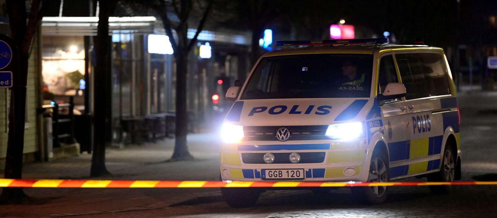 Police work at a knife attack site in Vetlanda, Sweden March 3, 2021. - Sputnik Italia, 1920, 05.03.2021
