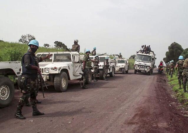 Le forze di pace dell'Onu sul luogo dell'assassinio dell'ambasciatore italiano in Congo Luca Attanasio
