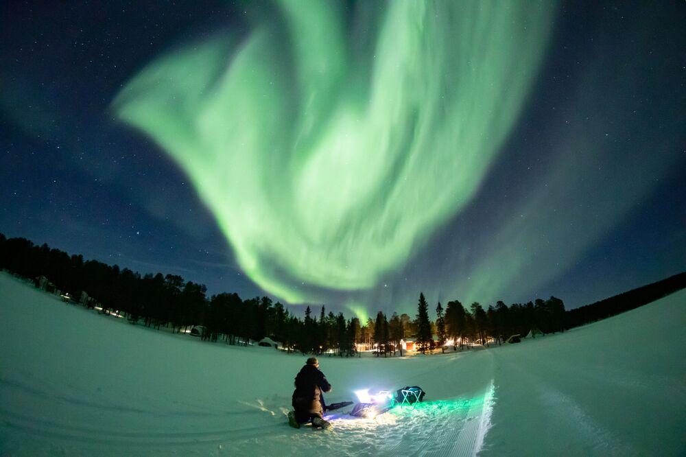 L'aurora boreale in Lapponia, Finlandia, il 2 marzo 2021