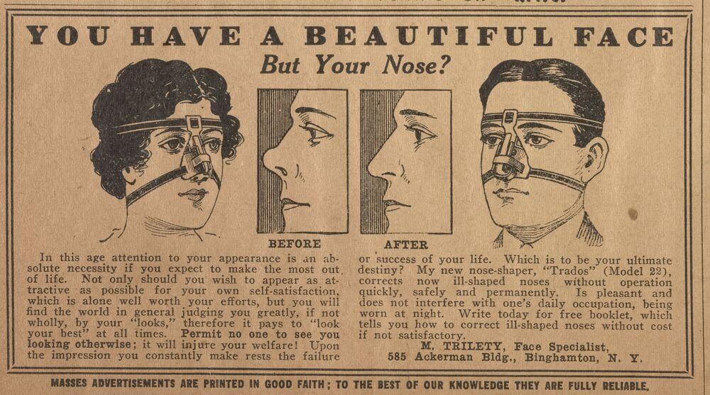 Hai un bel viso, ma tutto è rovinato dal naso?  Foto dalla pubblicazione sulla correzione della forma del naso.  Dicembre 1916