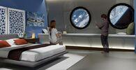 Una camera nell'albergo spaziale Voyager Station.