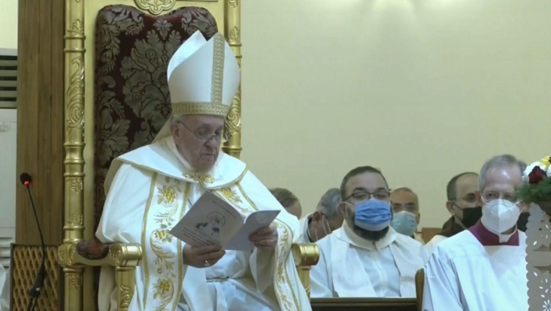 Papa Francesco celebra la messa a Baghdad - Sputnik Italia, 1920, 06.03.2021