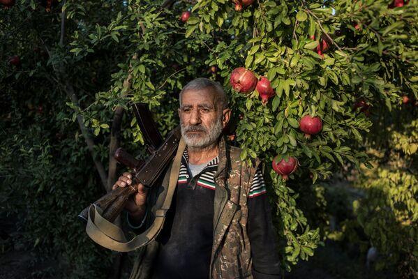 Il residente locale Anushavan si trova in un giardino di melograni nel cortile di casa sua. Nella sua mano c'è un vecchio fucile d'assalto Kalashnikov dalla prima guerra del Karabakh. Il villaggio di Ukhtasar. - Sputnik Italia