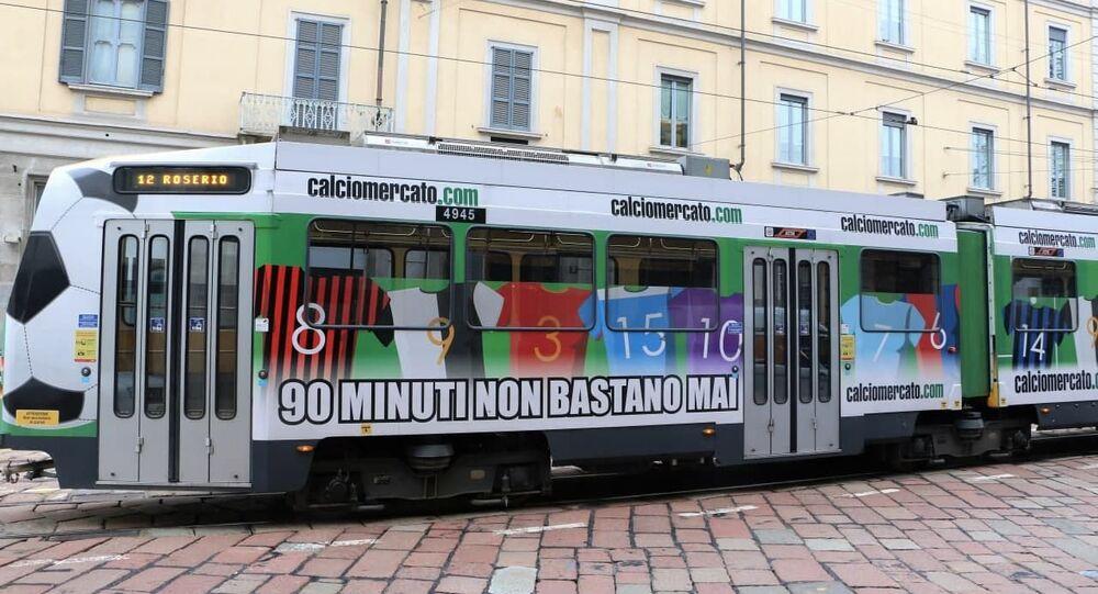 Un tram a Milano, Italia
