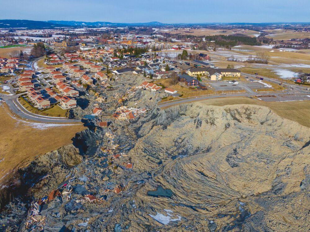 Villaggio di Ask distrutto da una frana, Norvegia