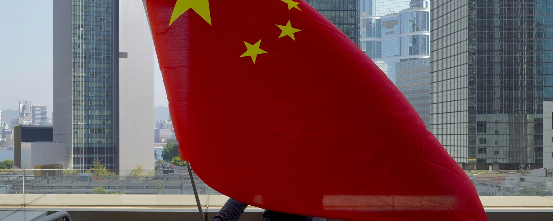 Un supporter pro-Cina sventola una bandiera cinese davanti all'Alta Corte di Hong Kong  - Sputnik Italia, 1920, 27.03.2021