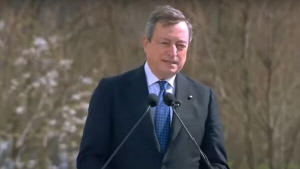 Mario Draghi è a Bergamo in occasione della Giornata nazionale in memoria delle vittime dell'epidemia di Coronavirus - Sputnik Italia