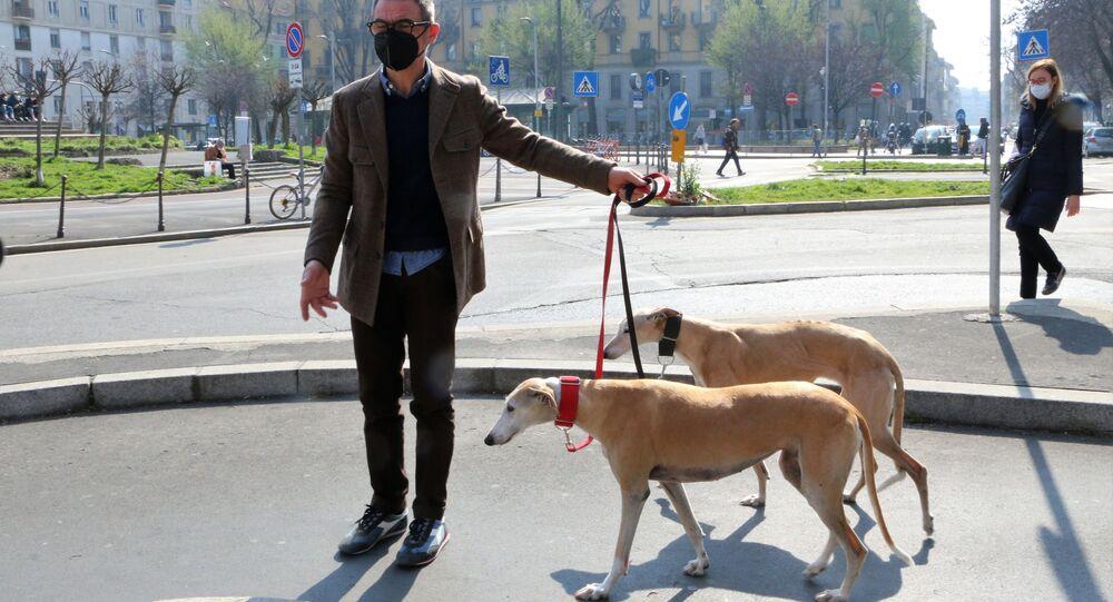 Uomo con i cani a Milano