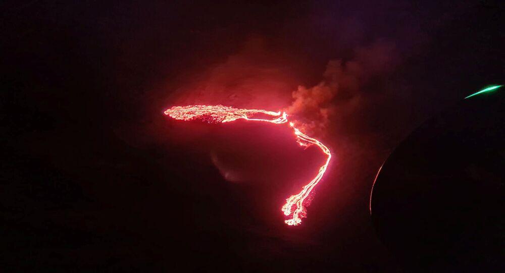 Lava nel vulcano islandese di Fagradalsfjall