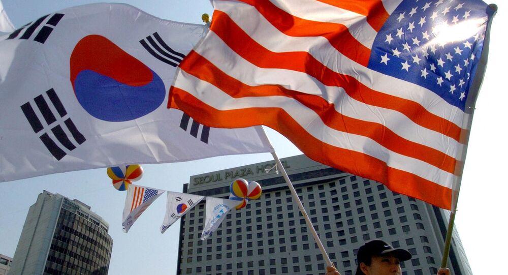 Bandiere USA e Corea del Sud