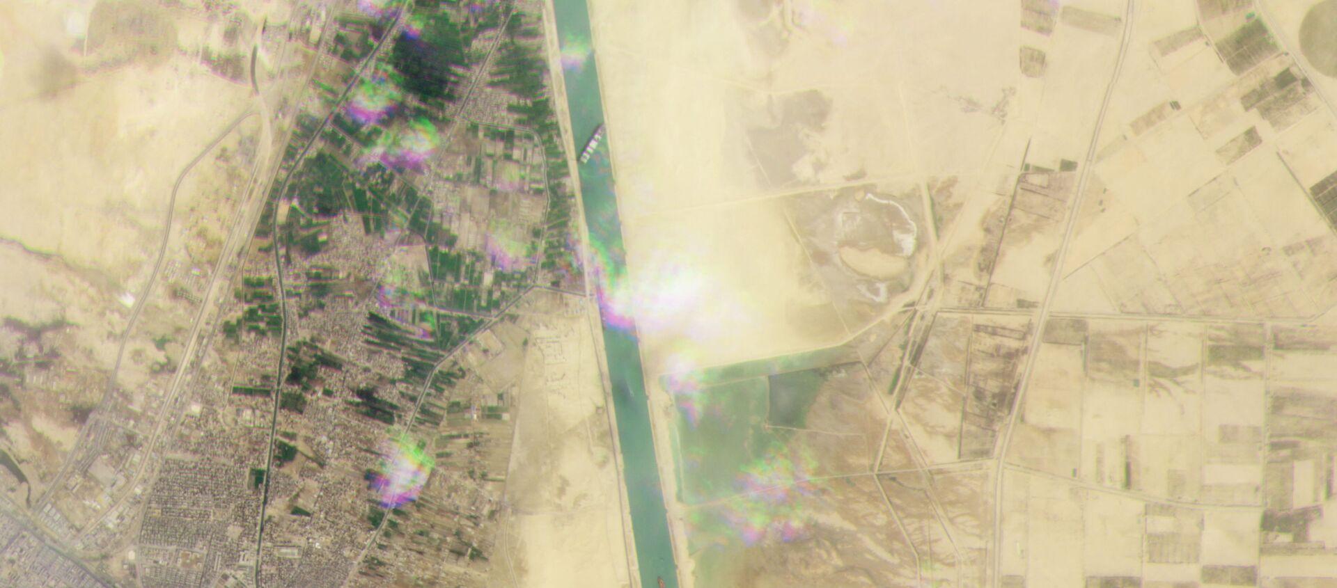 Foto satellitare del Canale di Suez bloccato dalla nave cargo Ever Given - Sputnik Italia, 1920, 25.03.2021