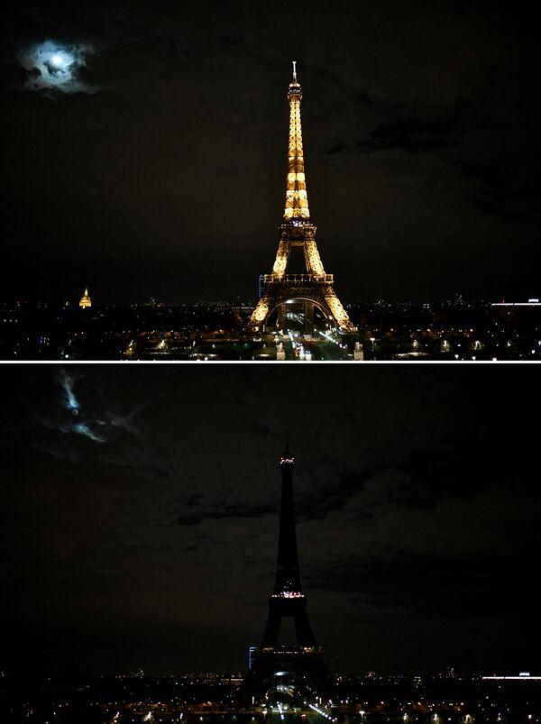 Le foto della Torre Eiffel a Parigi a luci spente (prima e dopo) per l'Ora della Terra, l'evento annuale organizzato dal WWF - Sputnik Italia