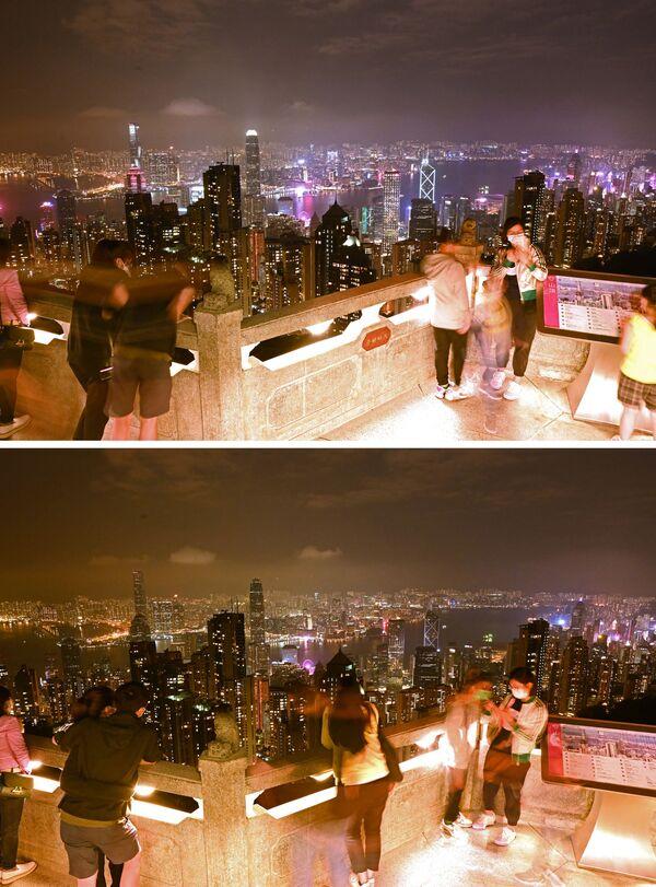 Vista sulla città di Hong Kong a luci spente (prima e dopo) per l'Ora della Terra, l'evento annuale organizzato dal WWF - Sputnik Italia