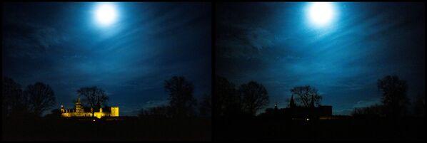 Vista sul castello di Kronborg in Danimarca a luci spente (prima e dopo) per l'Ora della Terra, l'evento annuale organizzato dal WWF - Sputnik Italia