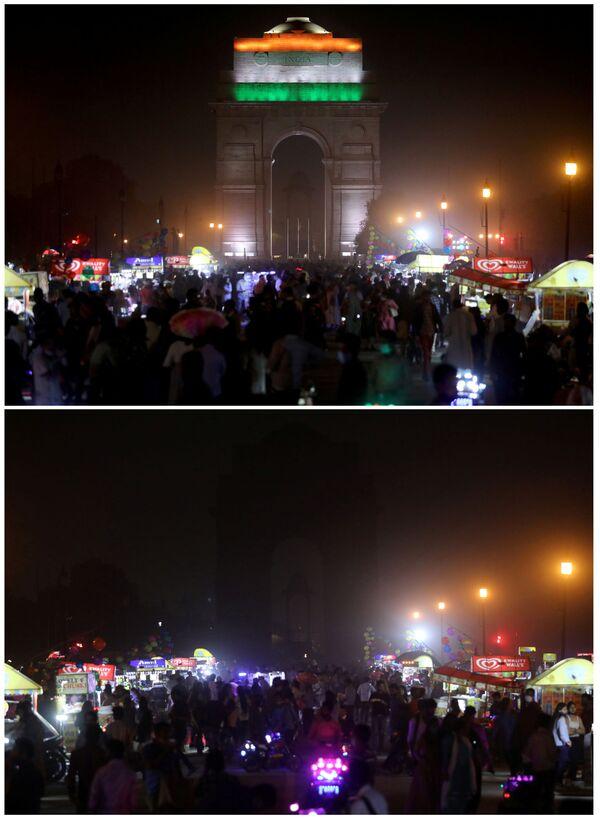 Le foto della Porta dell'India, memoriale di guerra situato a New Delhi, a luci spente (prima e dopo) per l'Ora della Terra, l'evento annuale organizzato dal WWF - Sputnik Italia