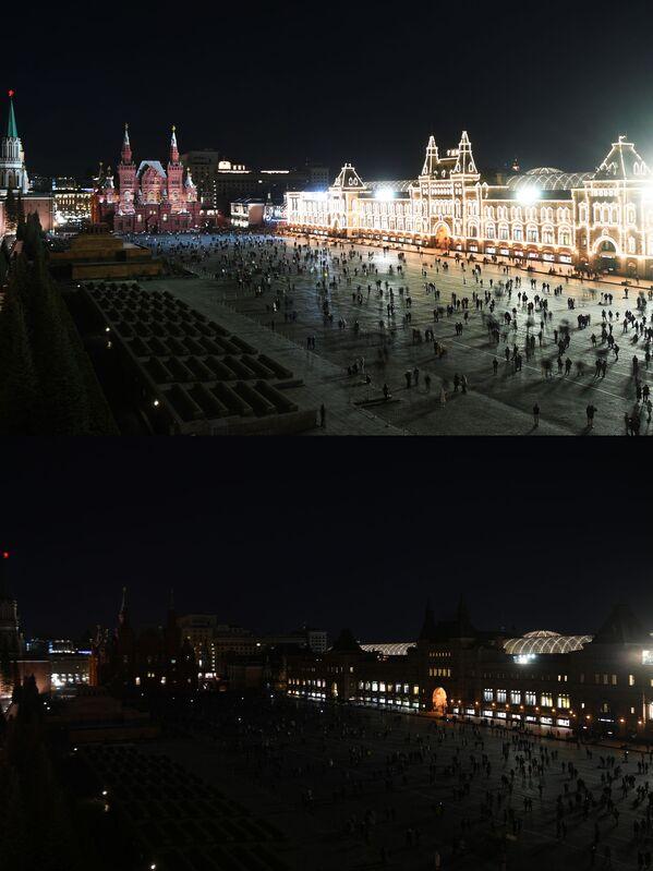Vista sulla Piazza Rossa a Mosca a luci spente (prima e dopo) per l'Ora della Terra, l'evento annuale organizzato dal WWF - Sputnik Italia
