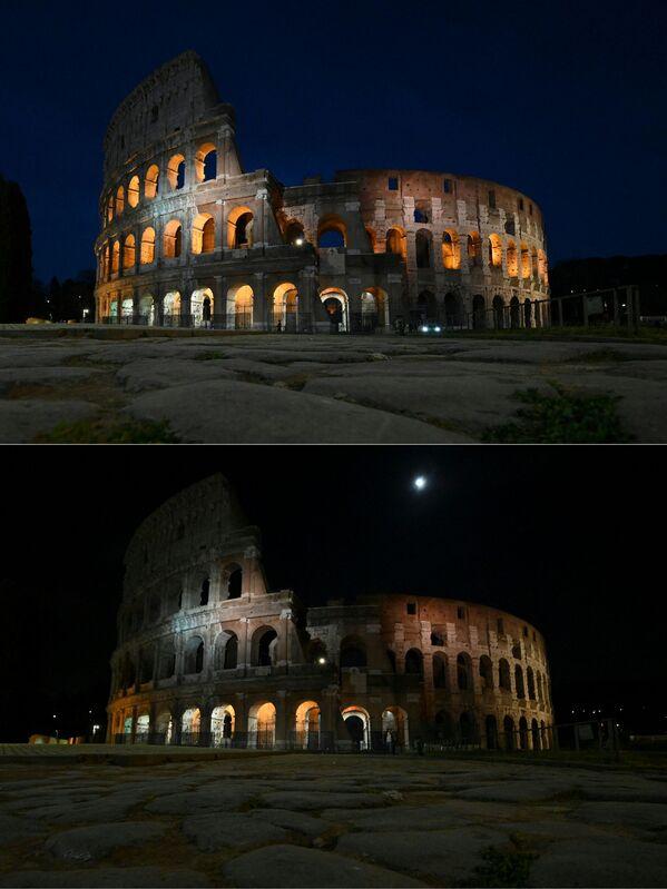 Le foto del Colosseo a luci spente (prima e dopo) per l'Ora della Terra, l'evento annuale organizzato dal WWF - Sputnik Italia