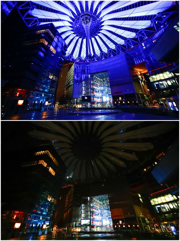 Le foto di Potsdamer Platz a Berlino a luci spente (prima e dopo) per l'Ora della Terra, l'evento annuale organizzato dal WWF - Sputnik Italia