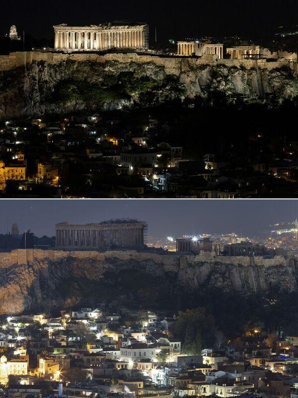 Le foto spettacolari dell'antico tempio del Partenone in cima alla collina dell'Acropoli di Atene a luci spente (prima e dopo) per l'Ora della Terra, l'evento annuale organizzato dal WWF - Sputnik Italia