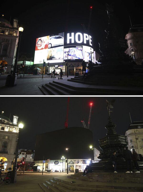 Le foto di Piccadilly Circus a Londra a luci spente (prima e dopo) per l'Ora della Terra, l'evento annuale organizzato dal WWF - Sputnik Italia