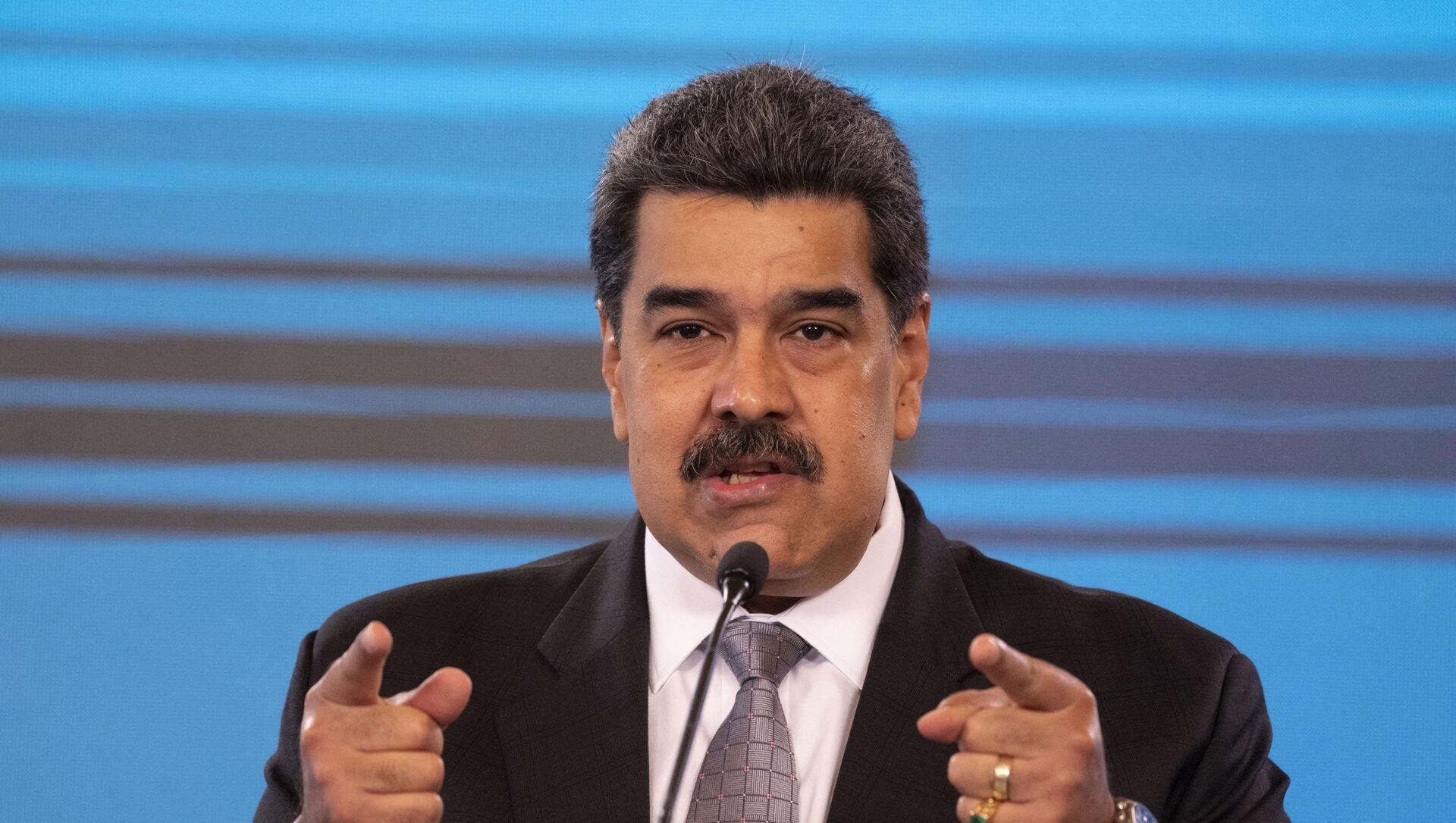 Conferenza stampa del Presidente venezuelano Nicolas Maduro al palazzo presidenziale Miraflores di Caracas, 17 febbraio 2021 - Sputnik Italia, 1920, 29.03.2021