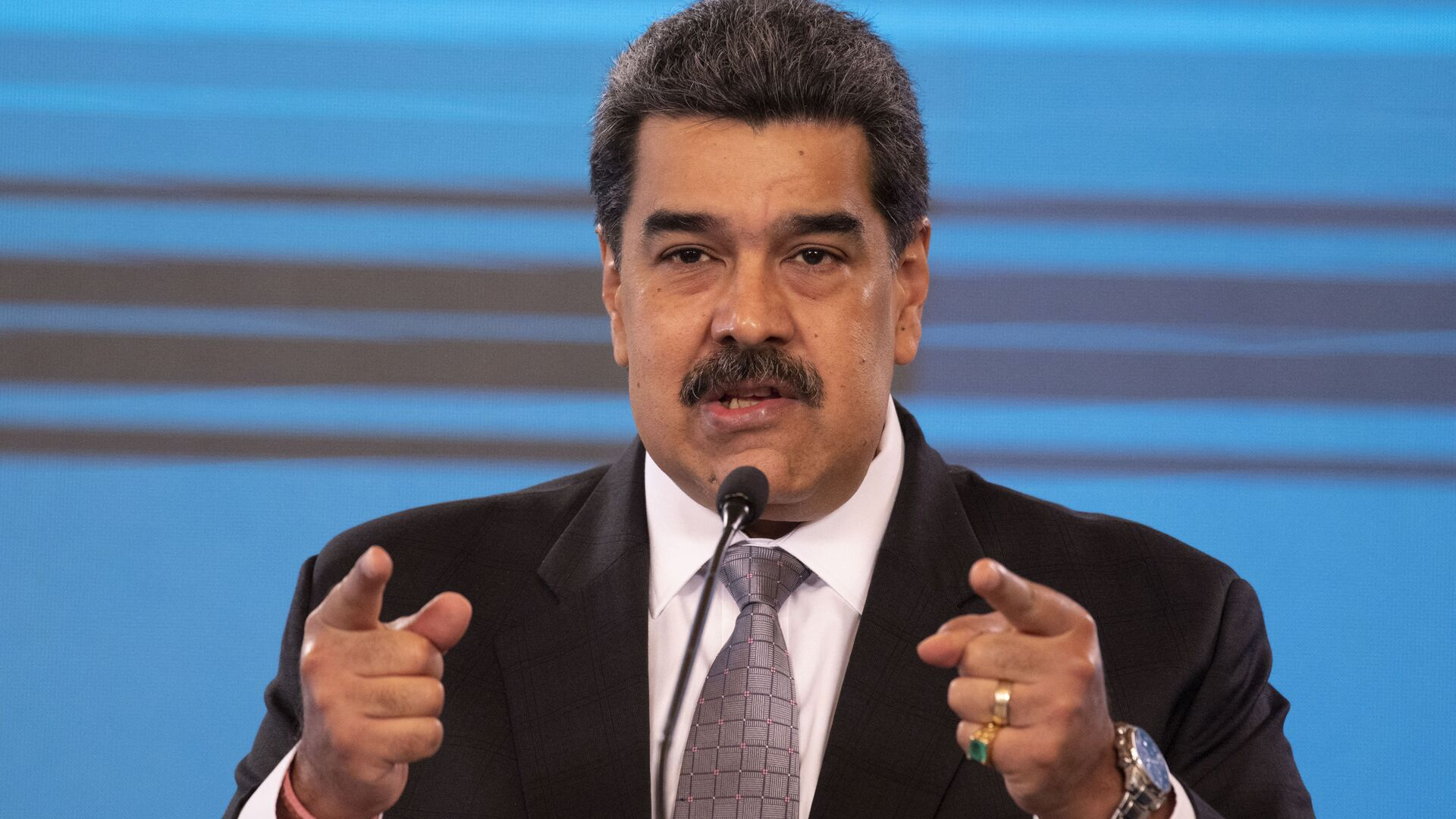 Conferenza stampa del Presidente venezuelano Nicolas Maduro al palazzo presidenziale Miraflores di Caracas, 17 febbraio 2021 - Sputnik Italia, 1920, 01.09.2021