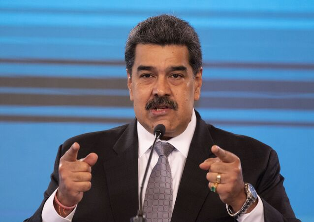Conferenza stampa del Presidente venezuelano Nicolas Maduro al palazzo presidenziale Miraflores di Caracas, 17 febbraio 2021